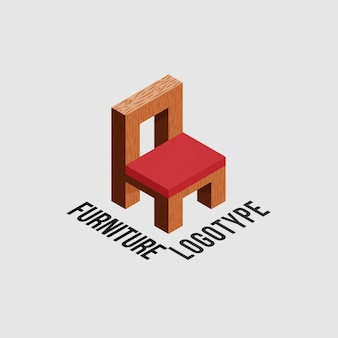 Logo de meubles avec chaise en bois