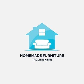 Logo de meubles avec maison et canapé