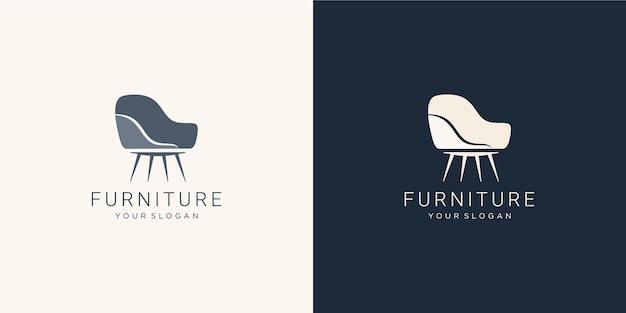 Logo de meubles monochromes avec chaise