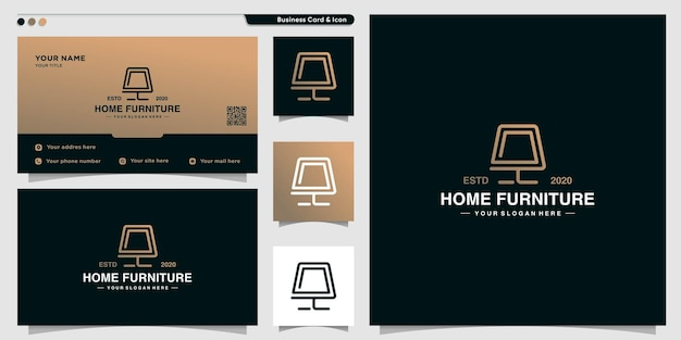 Logo de meubles avec un style d'art en ligne créatif vecteur premium