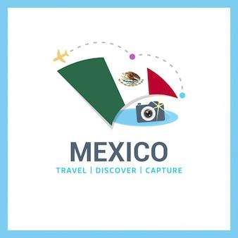 Logo mexique drapeau voyage