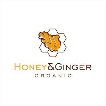 Logo de miel avec boisson saine de conception de gingembre