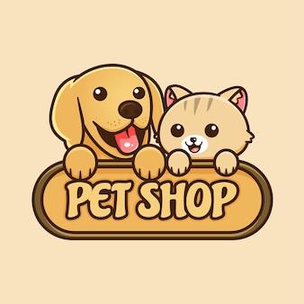 Logo mignon d'animalerie avec le chat et le chien