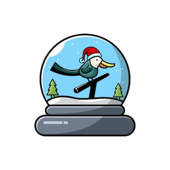 Logo mignon de caractère de noël oiseaux dôme