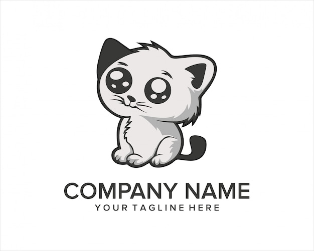 Logo mignon de cartoon cat