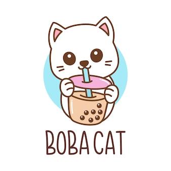 Logo mignon de chat de thé de bulle