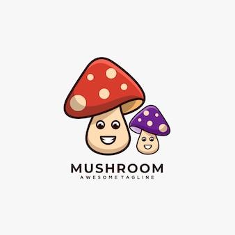 Logo mignon de dessin animé mushroom