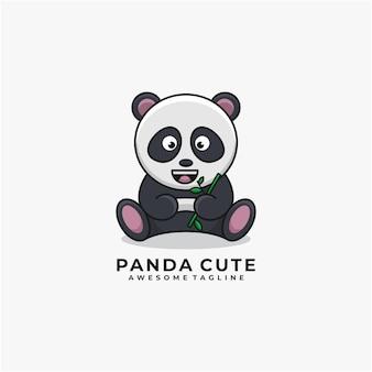 Logo mignon de dessin animé panda