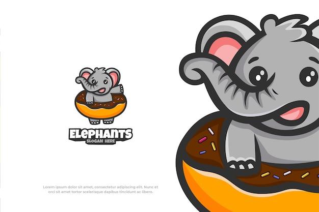 Logo mignon éléphant donut mascotte animal vector illustration