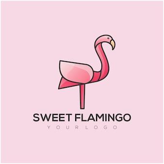 Logo mignon de flamant rose