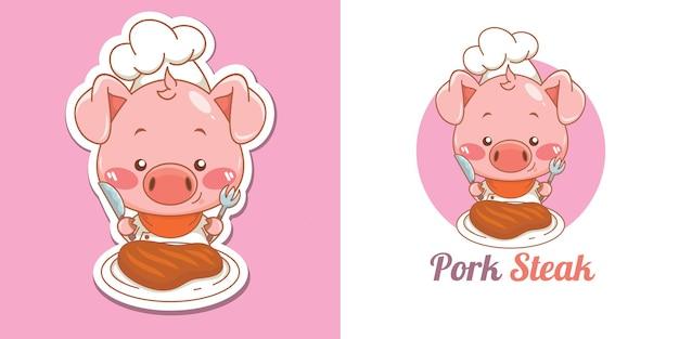 Logo mignon de mascotte de chef de porc mangeant le bifteck de porc
