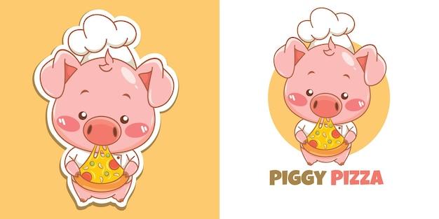 Logo mignon de mascotte de chef de porc mangeant la tranche de pizza