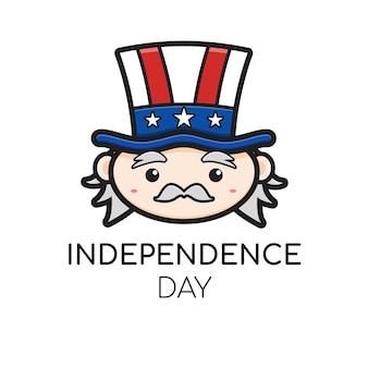 Le logo mignon de l'oncle sam célèbre l'icône de dessin animé de la fête de l'indépendance américaine.