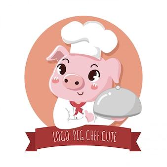 Logo mignon et sympathique chef de porc détient un steak délicieux