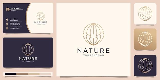 Logo mince de nature minimaliste avec un design de cercle de style linéaire créatif et un design de carte de visite.