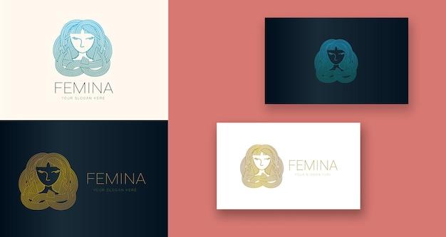 Logo minimal de beauté des cheveux féminins