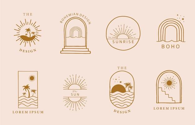 Logo minimal de ligne brune avec soleil, mer naturelle