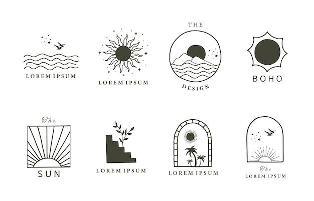Logo minimal de ligne noire avec soleil, mer, naturel