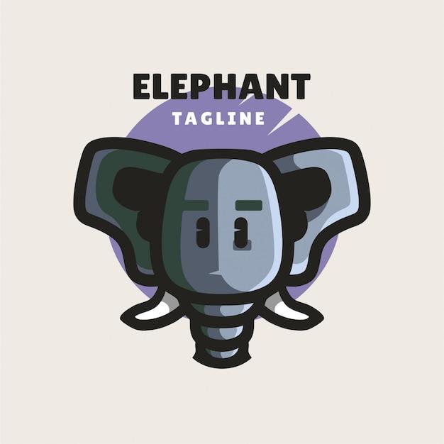 Logo minimaliste d'éléphant mignon