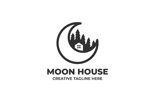 Logo minimaliste de la maison de la lune