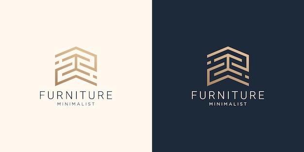 Logo minimaliste de meubles d'art de ligne abstraite avec conception de carte de visite.