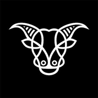 Logo minimaliste monoline de buffle