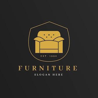 Logo de mobilier élégant avec fauteuil