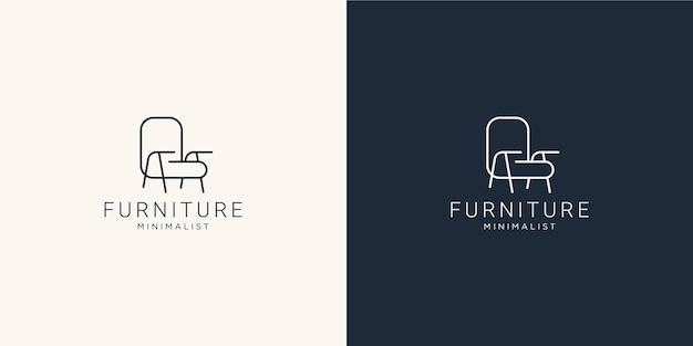 Logo de mobilier minimaliste avec chaise