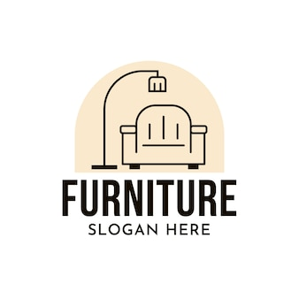 Logo de mobilier minimaliste avec fauteuil et lampe