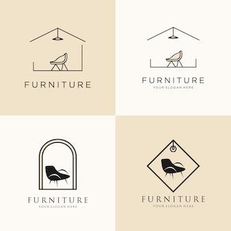 Logo de mobilier simple avec concept de ligne