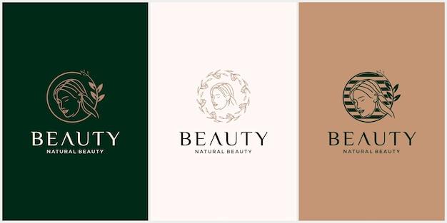 Logo de mode de belle femme modèle vectoriel de style linéaire de belle femme naturelle pour les entreprises