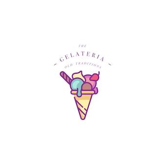 Logo de modèle coloré ou emblème - crème glacée, gelato. icône de crème glacée. logo dans un style linéaire branché sur fond blanc.