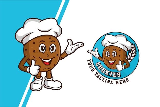 Logo de modèle de dessin animé de mascotte de biscuits
