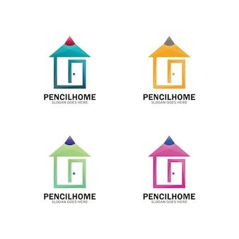 Logo de modèle de maison de crayon, symbole de maison d'art, créatif ou intelligent