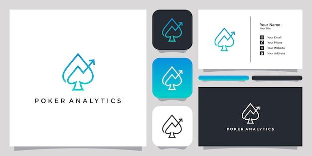 Logo de modèle de symbole d'icône de logo d'analyse de poker et carte de visite