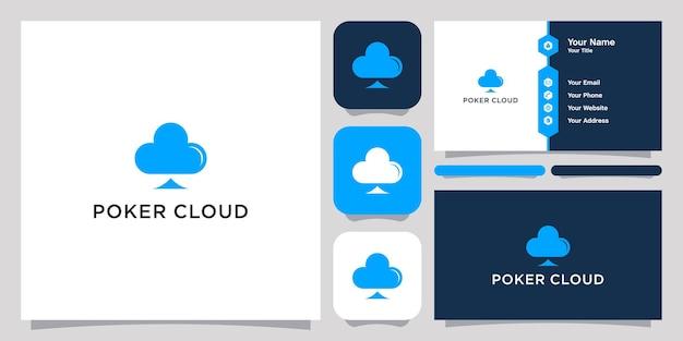 Logo de modèle de symbole d'icône de logo de nuage de poker et carte de visite