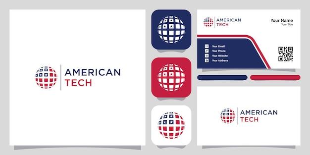 Logo de modèle de symbole d'icône de logo de technologie américaine et carte de visite