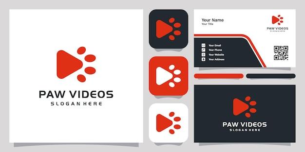 Logo de modèle de symbole d'icône de logo de vidéos de patte et carte de visite