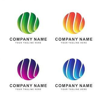 Logo moderne abstrait cercle de couleur différente