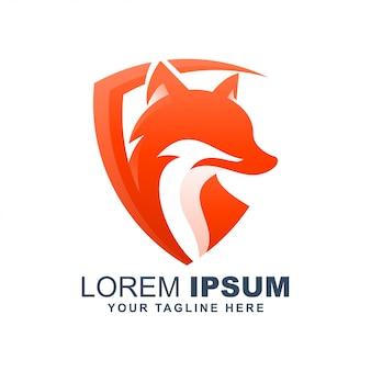 Logo moderne de bouclier de loup de renard