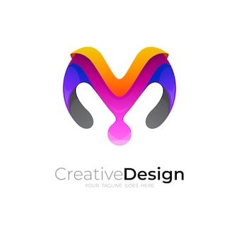 Logo moderne avec la conception de la lettre m, icône colorée