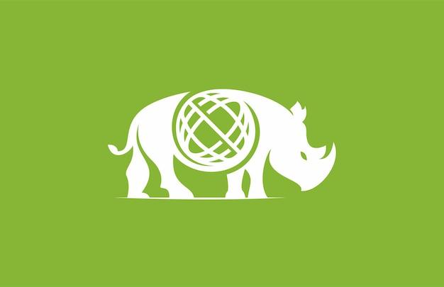 Logo moderne de globe de rhinocéros