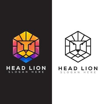 Logo moderne de lion tête hexagonale et style d'art en ligne