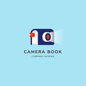 Logo moderne de livre d'appareil photo avec feuille et shoot léger