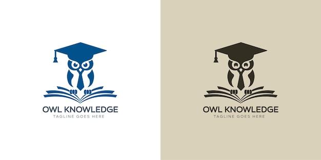 Logo moderne de livres de connaissances de hibou