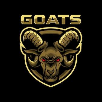 Logo moderne de mascotte d'insigne de tête de chèvre génial