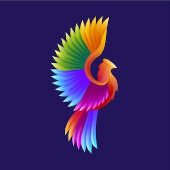 Logo moderne d'oiseau coloré