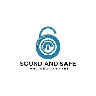 Logo moderne sûr et sain avec cadenas et haut-parleur