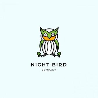 Logo moderne simple hibou. mignon vert propre debout sur un rameau et une feuille. vecteur premium