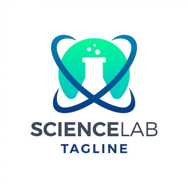 Logo moderne simple de laboratoire de science atomique